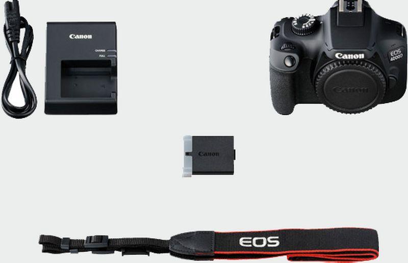 لوازم موجود در جعبه ی دوربین کانن 4000d بادی